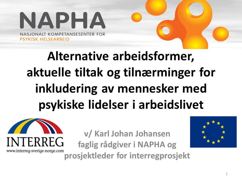 Alternative arbeidsformer, aktuelle tiltak og tilnærminger for inkludering av mennesker med psykiske lidelser i arbeidslivet v/ Karl Johan Johansen fa