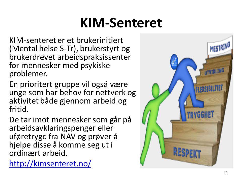 KIM-Senteret KIM-senteret er et brukerinitiert (Mental helse S-Tr), brukerstyrt og brukerdrevet arbeidspraksissenter for mennesker med psykiske proble