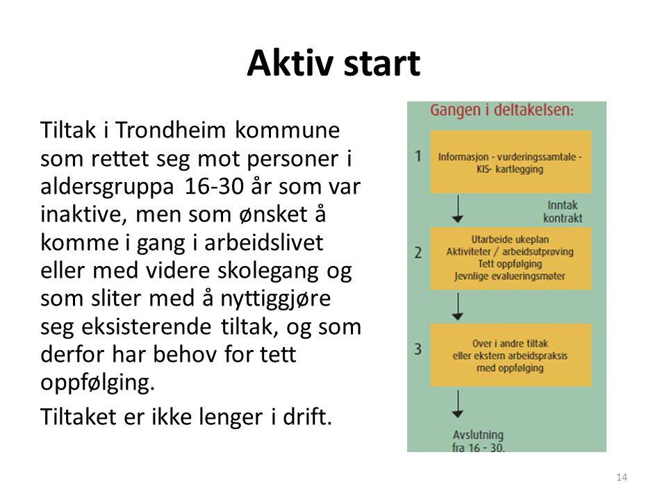 Aktiv Start Ukentlige aktiviteter som: -klatring -svømming -trim -gitarkurs -aktivitørgruppe på sykehjem -turer i skog og mark -bowling/biljard -kurs (selvhevdelse / depresjonsmestring/ filosofi) -arbeidsplassbesøk 15