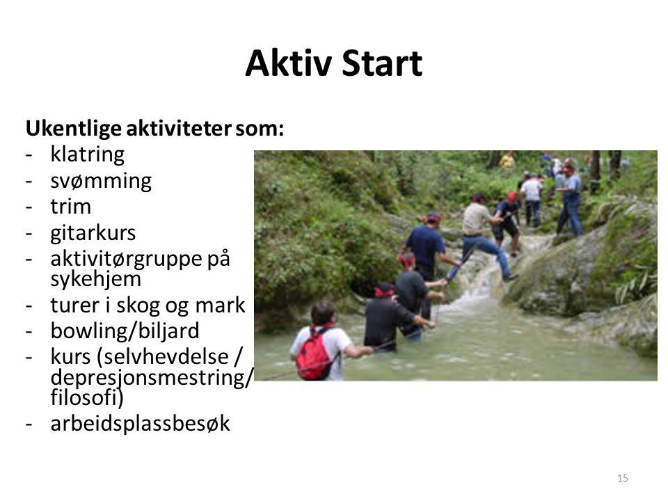 Aktiv Start Ukentlige aktiviteter som: -klatring -svømming -trim -gitarkurs -aktivitørgruppe på sykehjem -turer i skog og mark -bowling/biljard -kurs