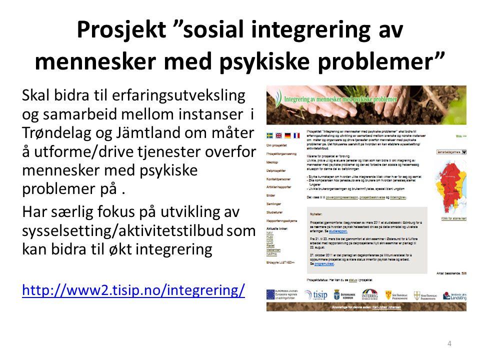 """Prosjekt """"sosial integrering av mennesker med psykiske problemer"""" Skal bidra til erfaringsutveksling og samarbeid mellom instanser i Trøndelag og Jämt"""