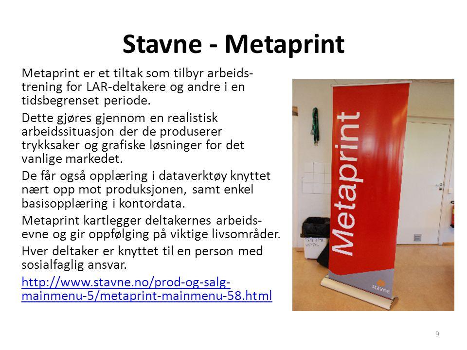 Stavne - Metaprint Metaprint er et tiltak som tilbyr arbeids- trening for LAR-deltakere og andre i en tidsbegrenset periode. Dette gjøres gjennom en r