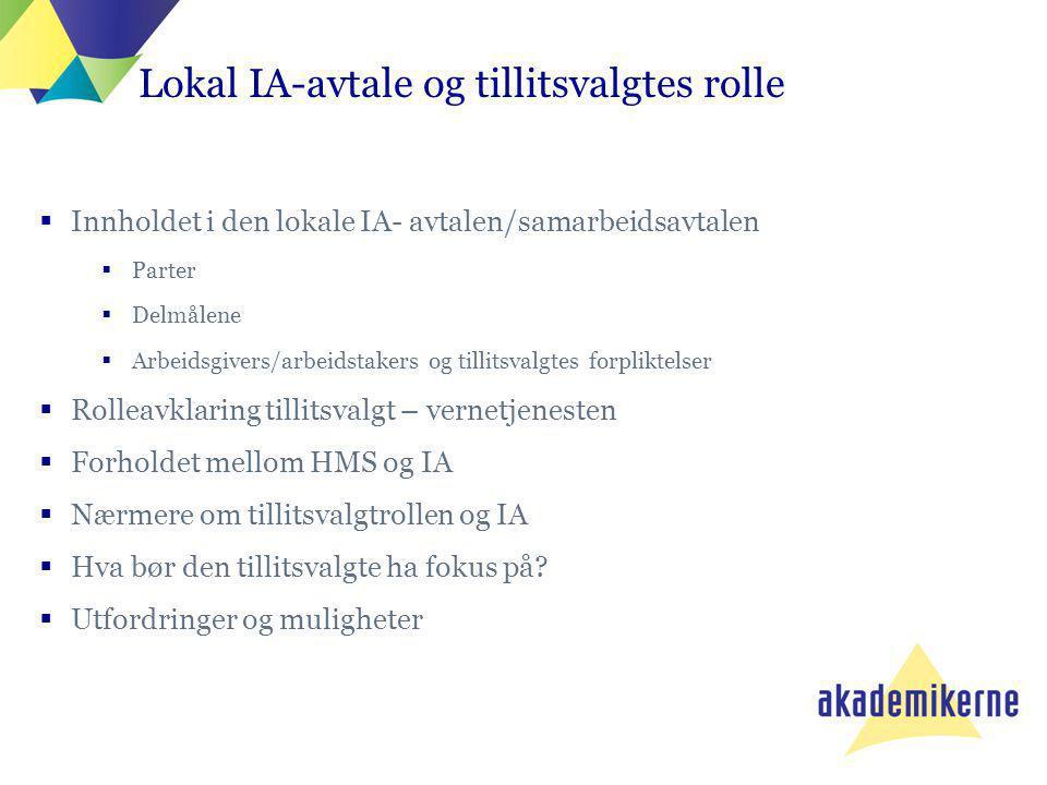  Innholdet i den lokale IA- avtalen/samarbeidsavtalen  Parter  Delmålene  Arbeidsgivers/arbeidstakers og tillitsvalgtes forpliktelser  Rolleavkla