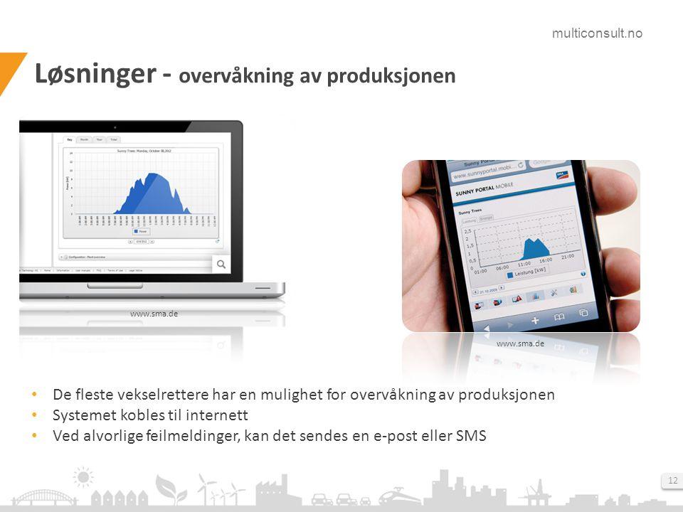 multiconsult.no 12 Løsninger - overvåkning av produksjonen www.sma.de • De fleste vekselrettere har en mulighet for overvåkning av produksjonen • Syst