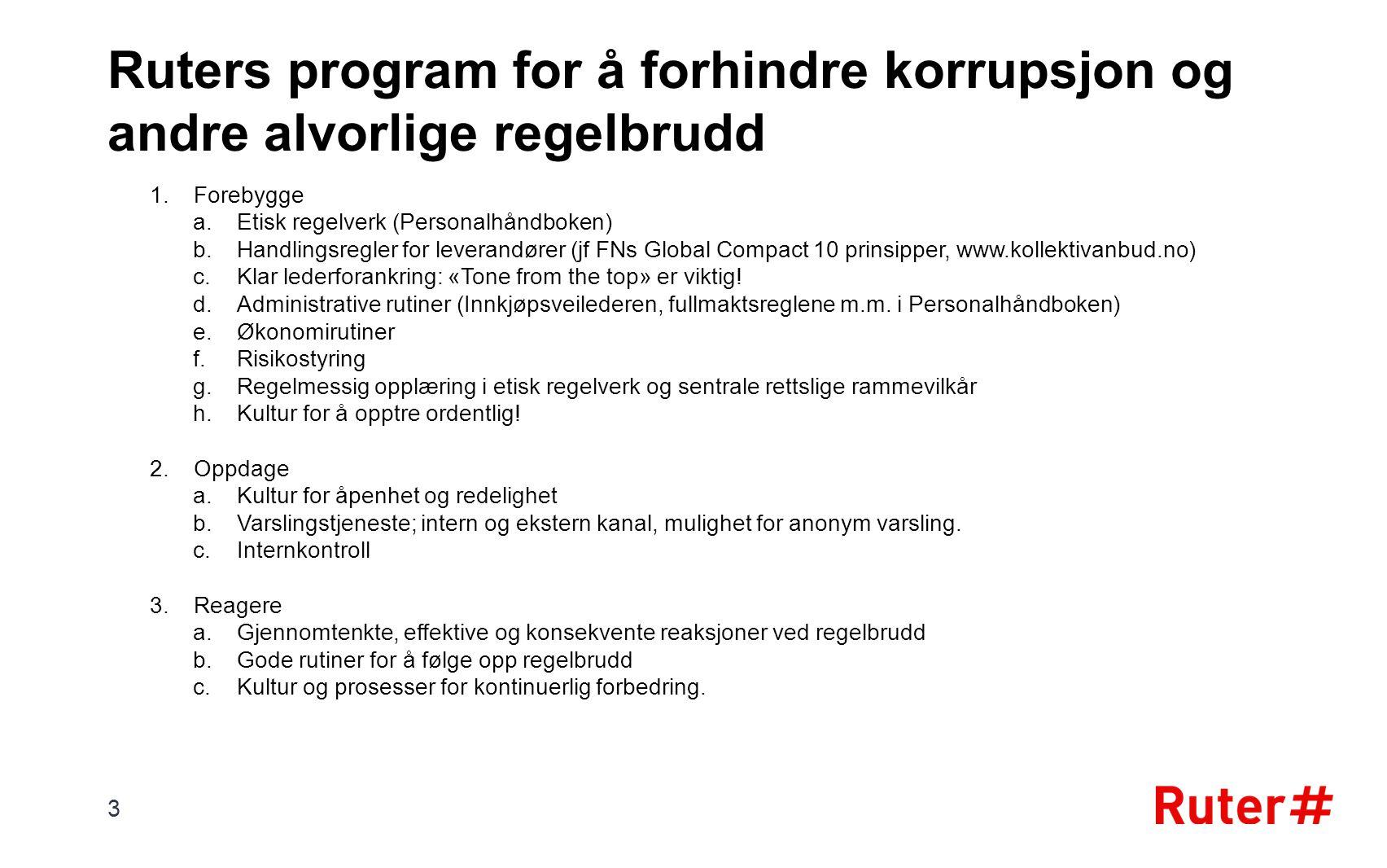 Ruters program for å forhindre korrupsjon og andre alvorlige regelbrudd 1.Forebygge a.Etisk regelverk (Personalhåndboken) b.Handlingsregler for levera