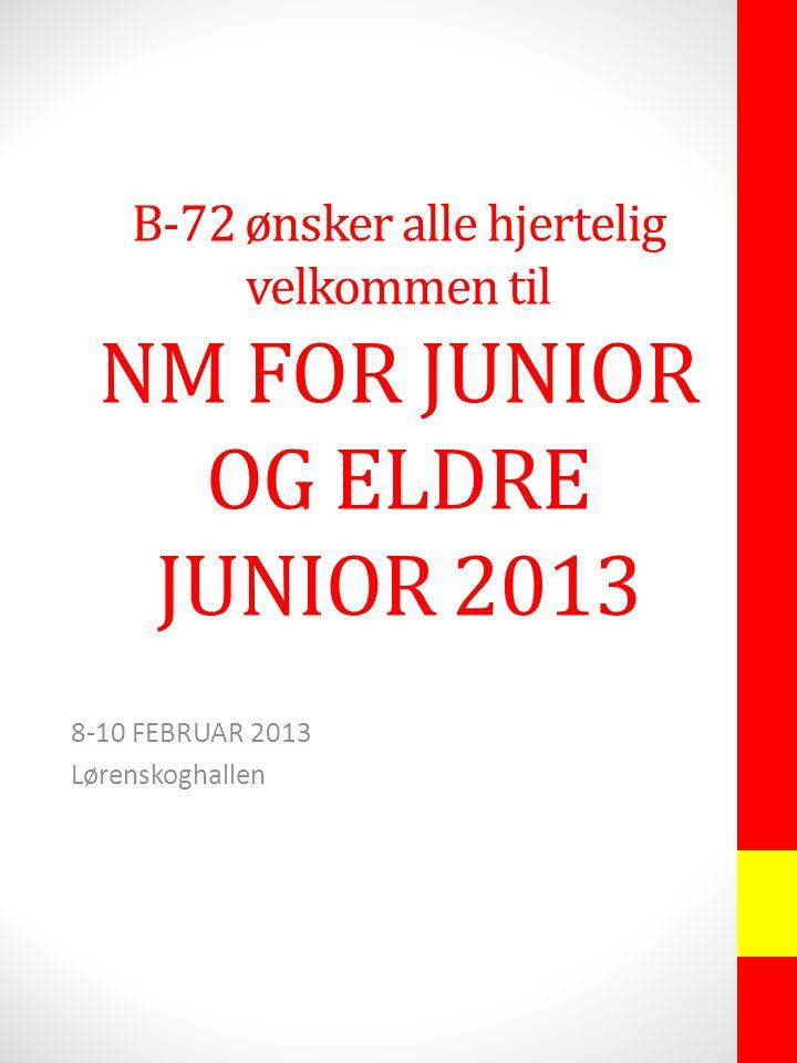 B-72 ønsker alle hjertelig velkommen til NM FOR JUNIOR OG ELDRE JUNIOR 2013 8-10 FEBRUAR 2013 Lørenskoghallen