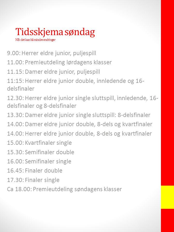 Tidsskjema søndag NB: det kan bli mindre endringer 9.00: Herrer eldre junior, puljespill 11.00: Premieutdeling lørdagens klasser 11.15: Damer eldre junior, puljespill 11:15: Herrer eldre junior double, innledende og 16- delsfinaler 12.30: Herrer eldre junior single sluttspill, innledende, 16- delsfinaler og 8-delsfinaler 13.30: Damer eldre junior single sluttspill: 8-delsfinaler 14.00: Damer eldre junior double, 8-dels og kvartfinaler 14.00: Herrer eldre junior double, 8-dels og kvartfinaler 15.00: Kvartfinaler single 15.30: Semifinaler double 16.00: Semifinaler single 16.45: Finaler double 17.30: Finaler single Ca 18.00: Premieutdeling søndagens klasser