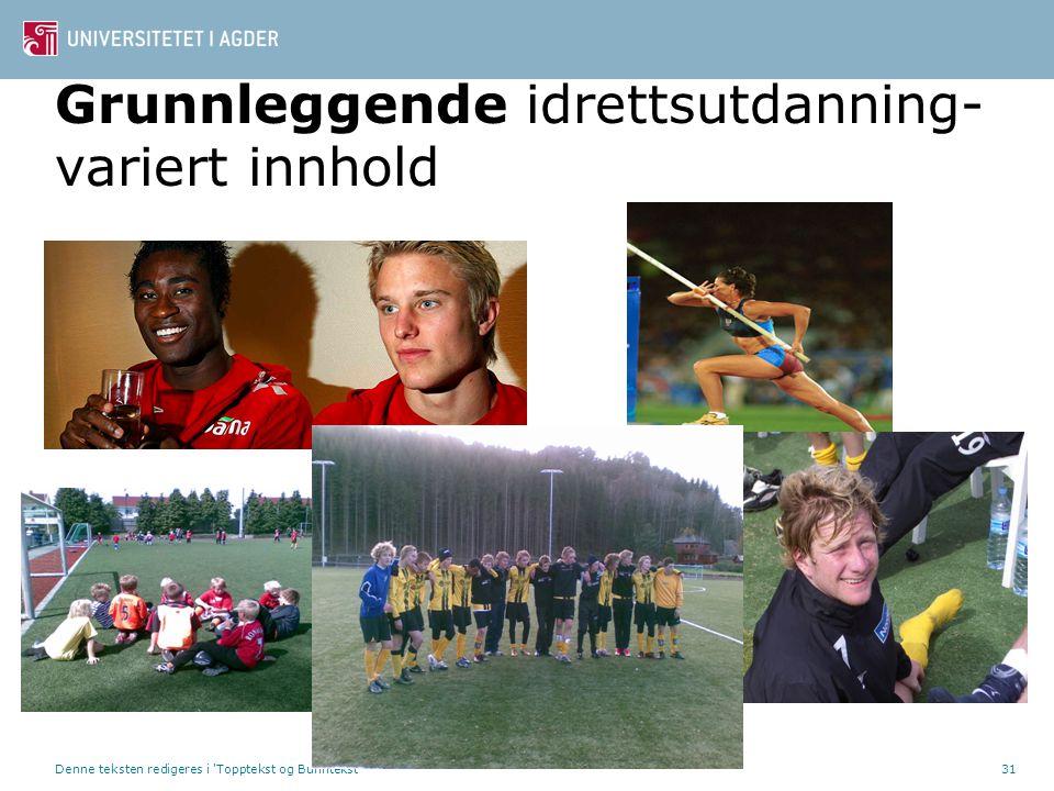 Denne teksten redigeres i 'Topptekst og Bunntekst'31 Grunnleggende idrettsutdanning- variert innhold