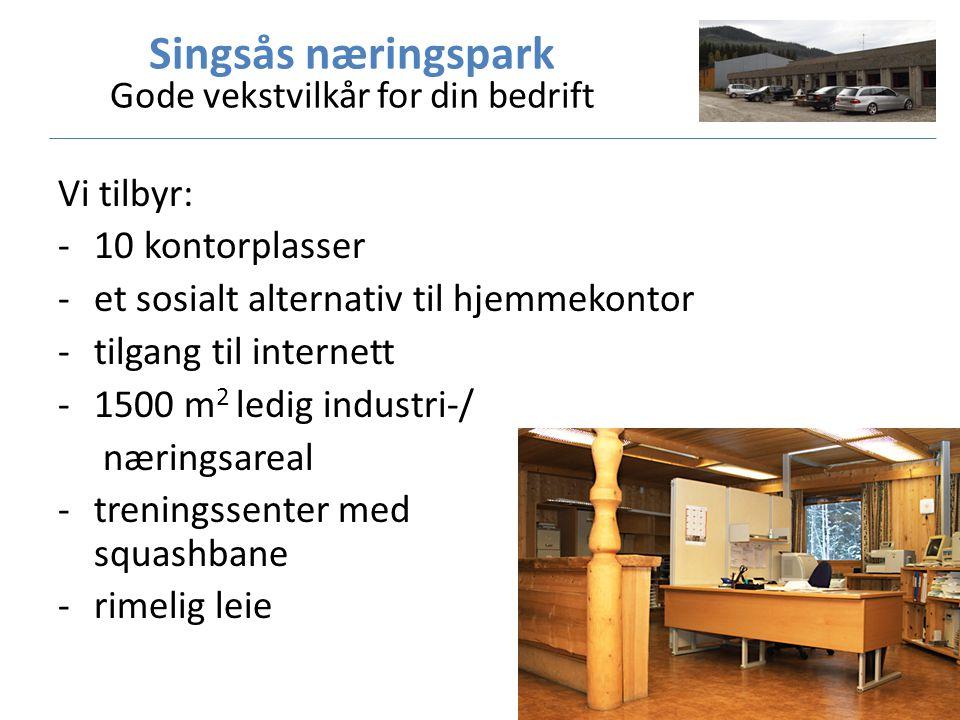 Vi tilbyr: -10 kontorplasser -et sosialt alternativ til hjemmekontor -tilgang til internett -1500 m 2 ledig industri-/ næringsareal -treningssenter med squashbane -rimelig leie