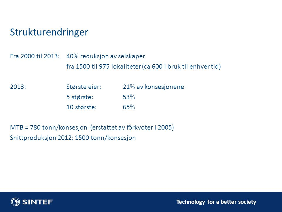 Fra 2000 til 2013:40% reduksjon av selskaper fra 1500 til 975 lokaliteter (ca 600 i bruk til enhver tid) 2013:Største eier:21% av konsesjonene 5 størs