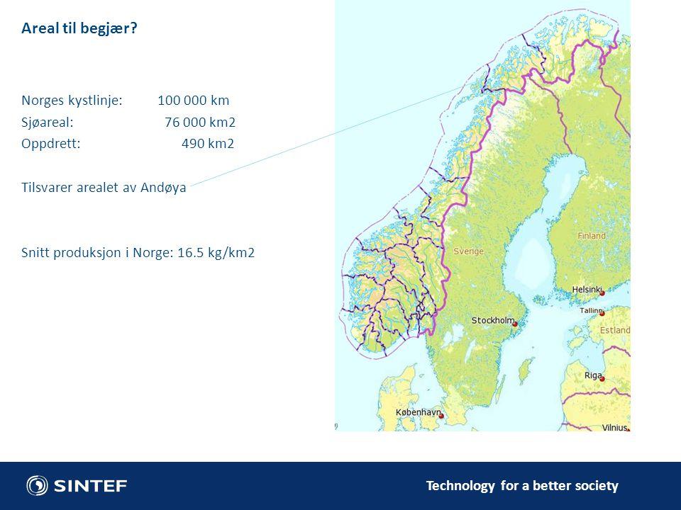 Areal til begjær? Norges kystlinje: 100 000 km Sjøareal: 76 000 km2 Oppdrett: 490 km2 Tilsvarer arealet av Andøya Snitt produksjon i Norge: 16.5 kg/km