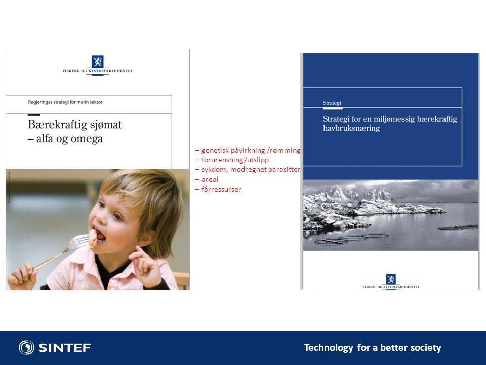 Technology for a better society – genetisk påvirkning /rømming – forurensning/utslipp – sykdom, medregnet parasitter – areal – fôrressurser