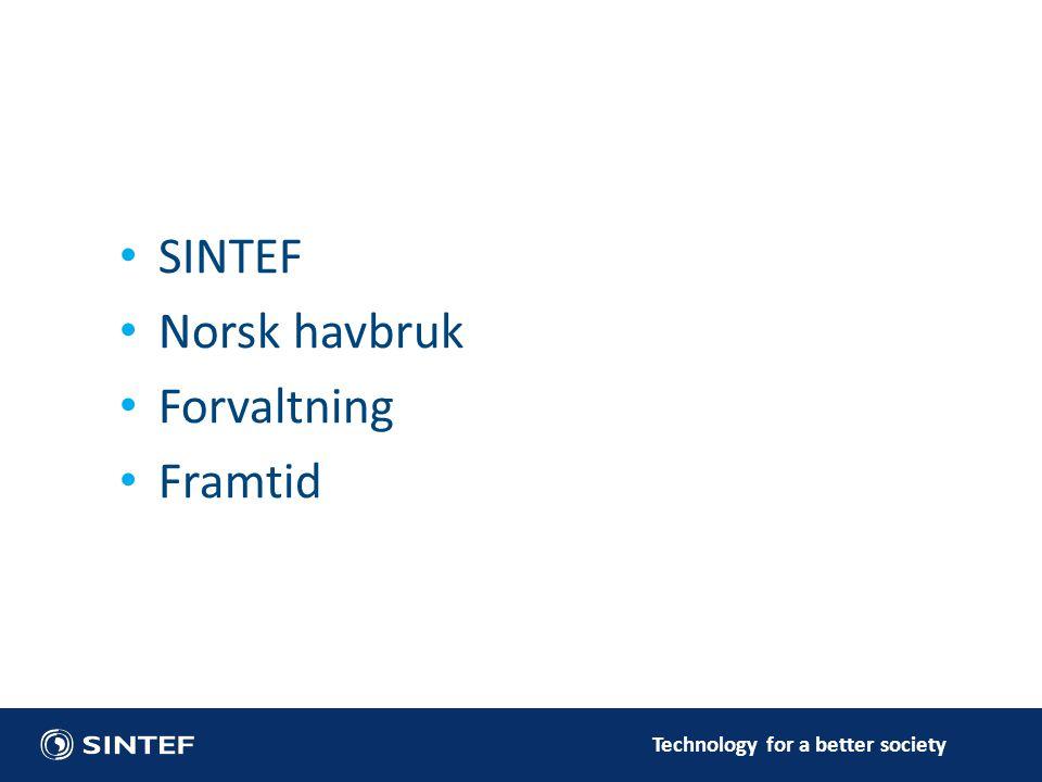 Technology for a better society • SINTEF • Norsk havbruk • Forvaltning • Framtid