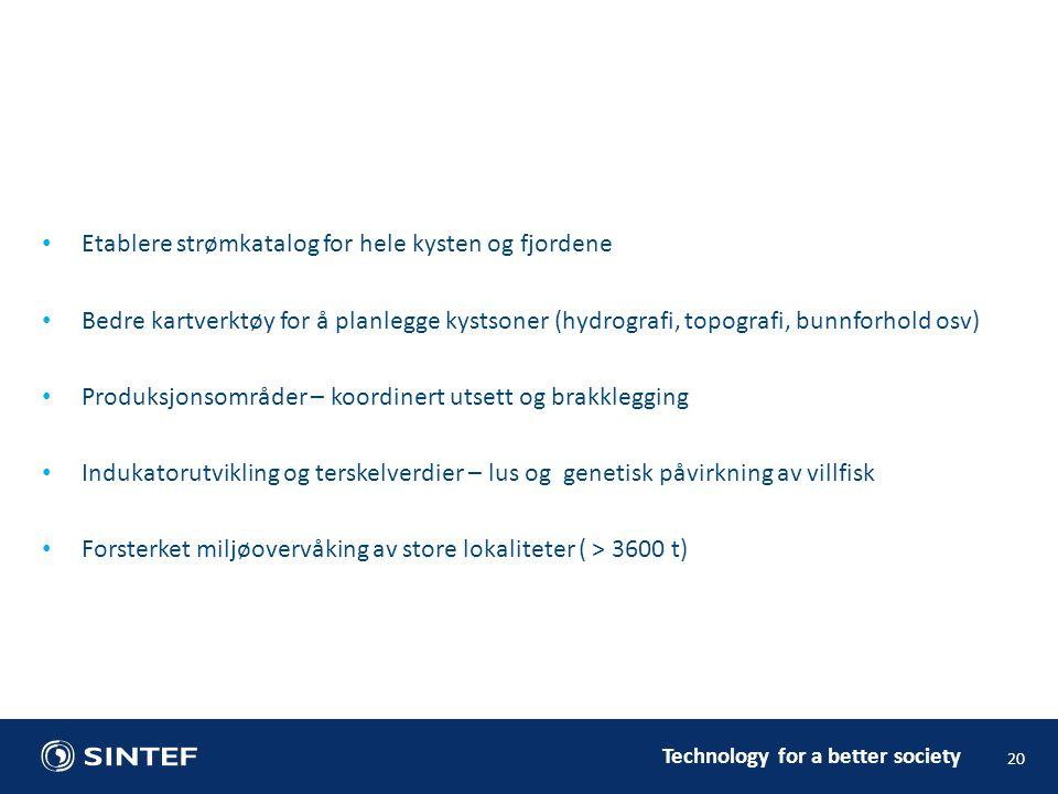 Technology for a better society • Etablere strømkatalog for hele kysten og fjordene • Bedre kartverktøy for å planlegge kystsoner (hydrografi, topogra