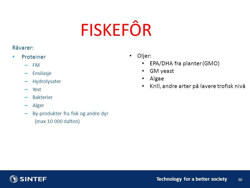 Råvarer: • Proteiner – FM – Ensilasje – Hydrolysater – Yest – Bakterier – Alger – By-produkter fra fisk og andre dyr (max 10 000 dalton) 30 FISKEFÔR •