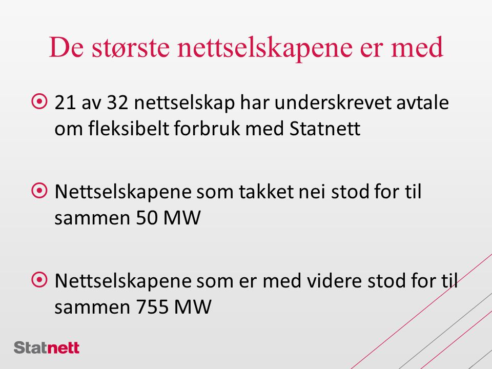 De største nettselskapene er med  21 av 32 nettselskap har underskrevet avtale om fleksibelt forbruk med Statnett  Nettselskapene som takket nei stod for til sammen 50 MW  Nettselskapene som er med videre stod for til sammen 755 MW