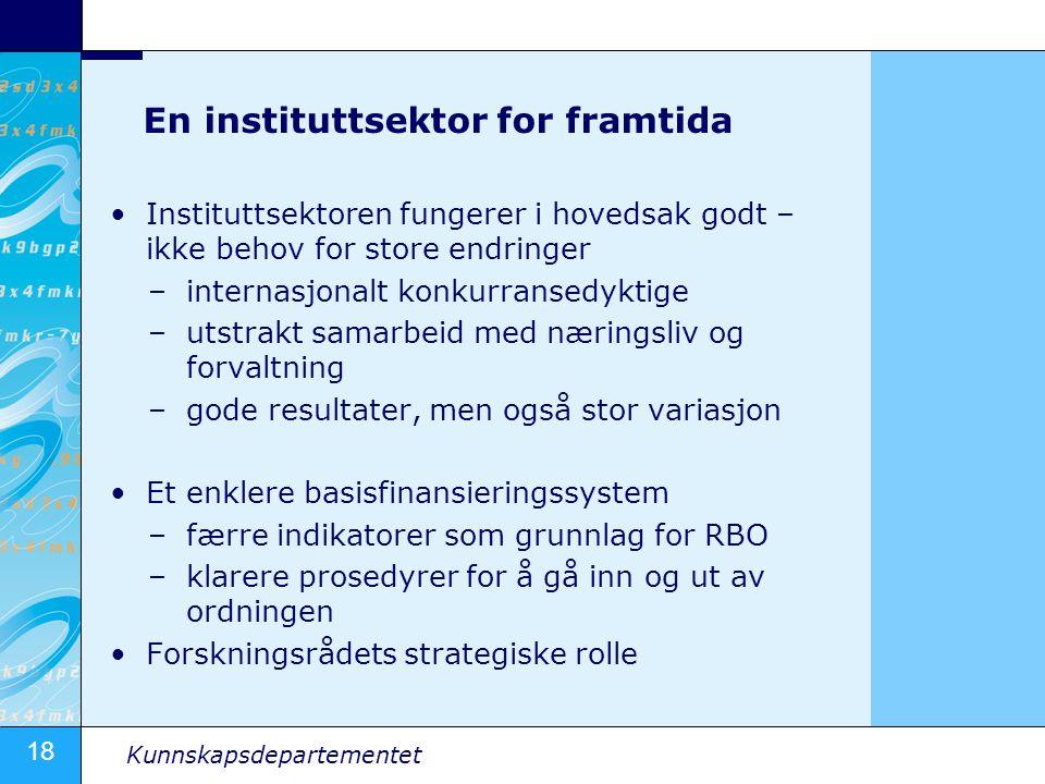 18 Kunnskapsdepartementet En instituttsektor for framtida •Instituttsektoren fungerer i hovedsak godt – ikke behov for store endringer –internasjonalt