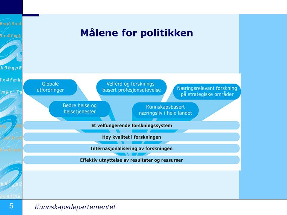 5 Kunnskapsdepartementet Målene for politikken