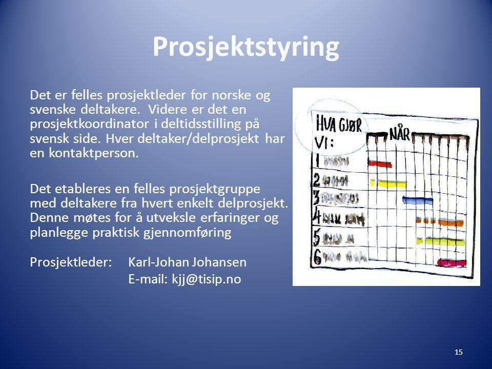 Prosjektstyring Det er felles prosjektleder for norske og svenske deltakere.