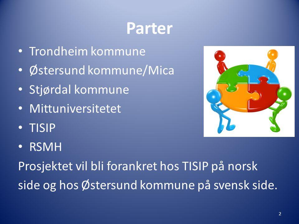 Parter • Trondheim kommune • Østersund kommune/Mica • Stjørdal kommune • Mittuniversitetet • TISIP • RSMH Prosjektet vil bli forankret hos TISIP på norsk side og hos Østersund kommune på svensk side.