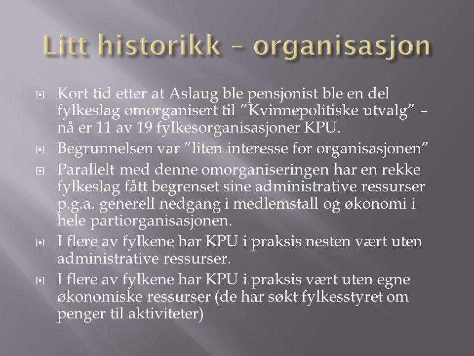 """ Kort tid etter at Aslaug ble pensjonist ble en del fylkeslag omorganisert til """"Kvinnepolitiske utvalg"""" – nå er 11 av 19 fylkesorganisasjoner KPU. """