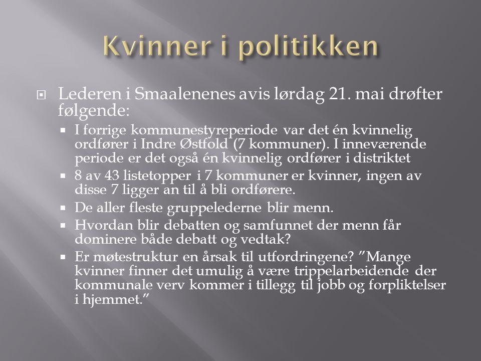 Lederen i Smaalenenes avis lørdag 21. mai drøfter følgende:  I forrige kommunestyreperiode var det én kvinnelig ordfører i Indre Østfold (7 kommune