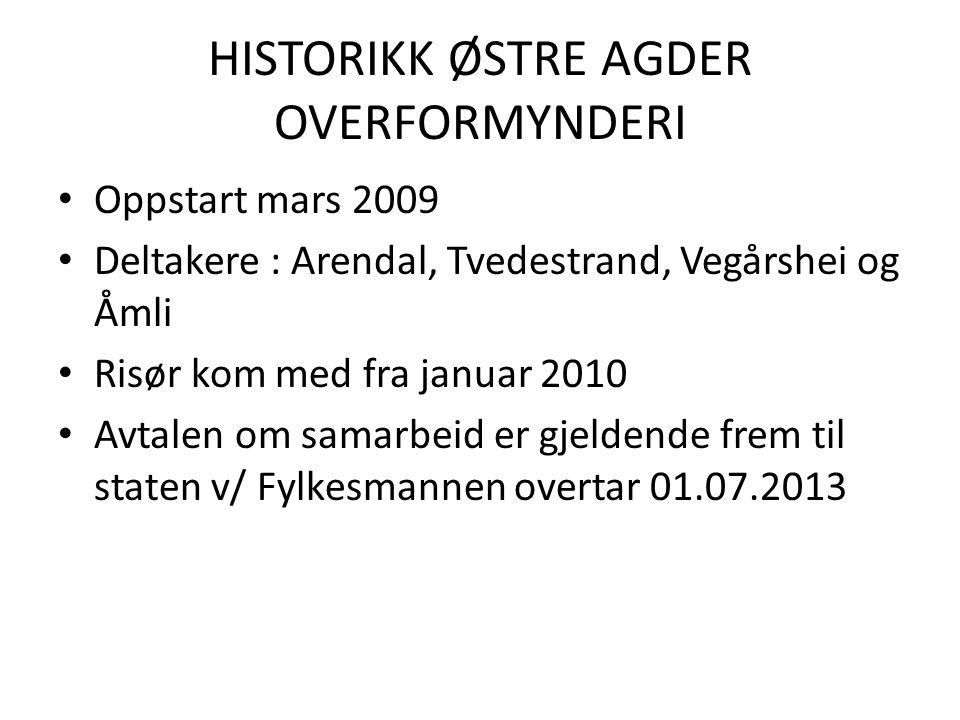 HISTORIKK ØSTRE AGDER OVERFORMYNDERI • Oppstart mars 2009 • Deltakere : Arendal, Tvedestrand, Vegårshei og Åmli • Risør kom med fra januar 2010 • Avta