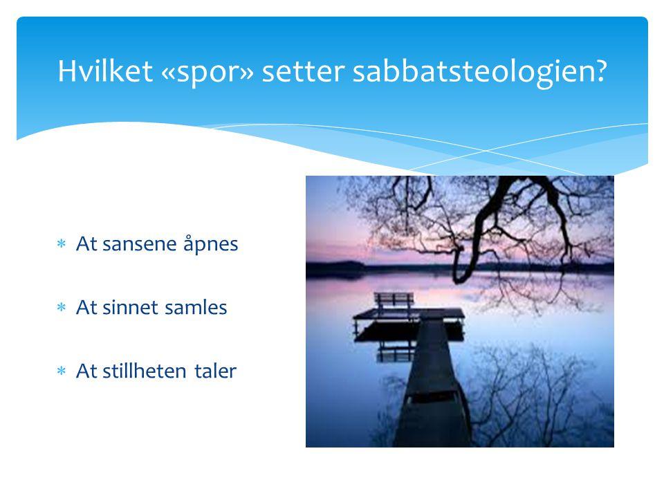 Hvilket «spor» setter sabbatsteologien?  At sansene åpnes  At sinnet samles  At stillheten taler