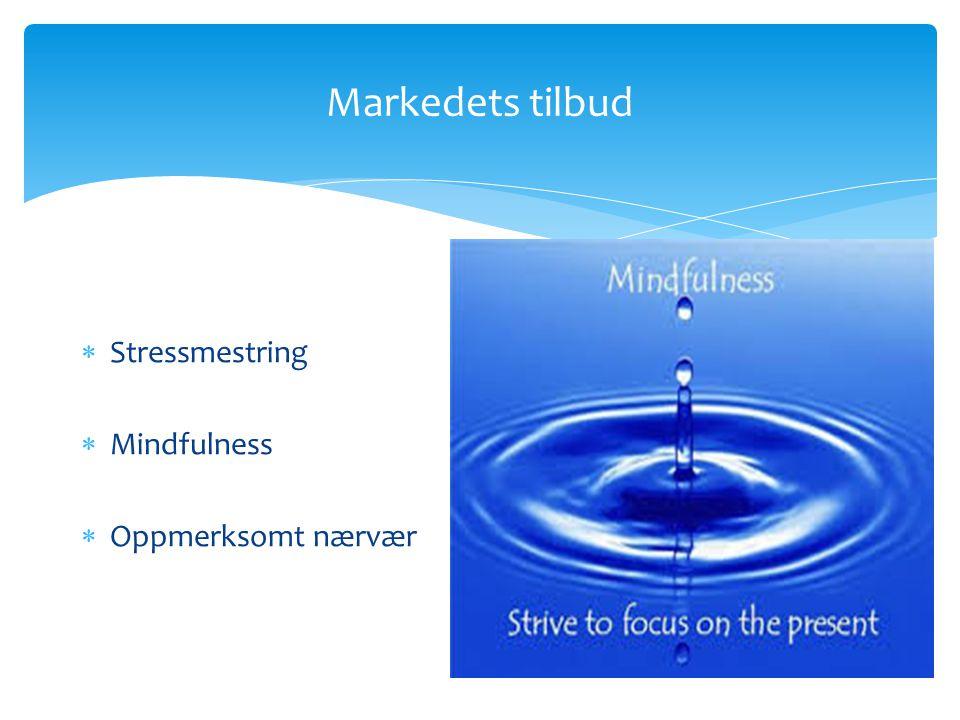 Markedets tilbud  Stressmestring  Mindfulness  Oppmerksomt nærvær