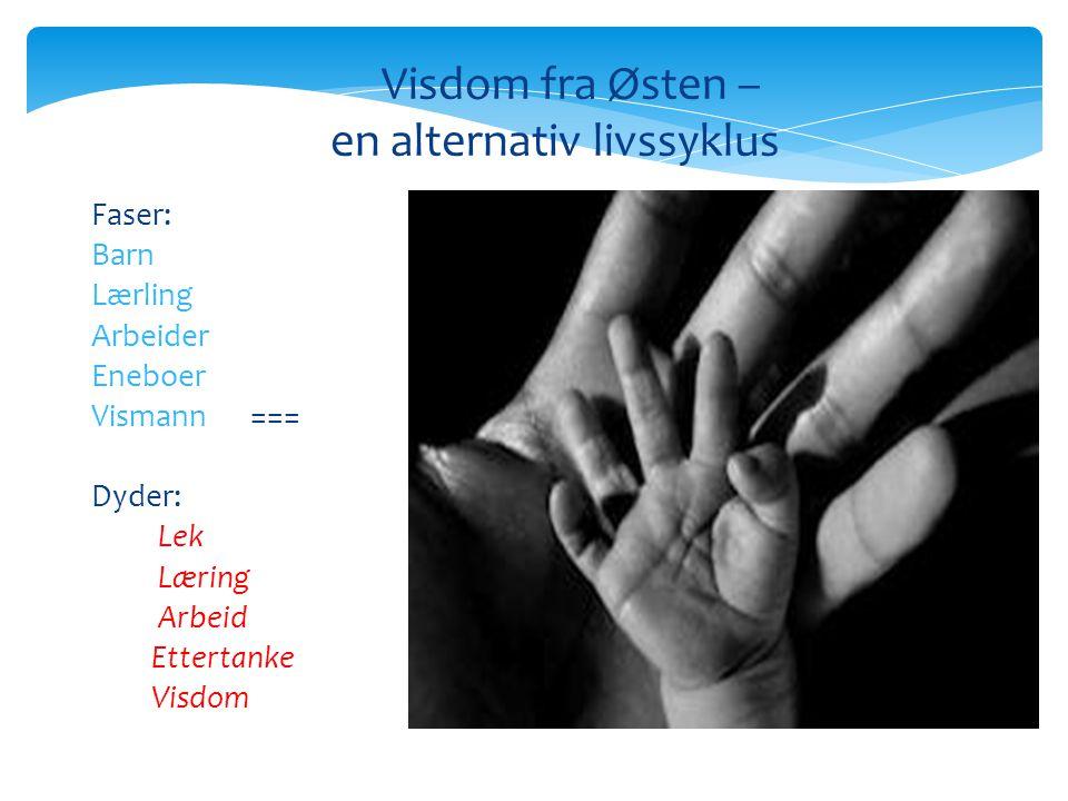 Visdom fra Østen – en alternativ livssyklus Faser: Barn Lærling Arbeider Eneboer Vismann === Dyder: Lek Læring Arbeid Ettertanke Visdom