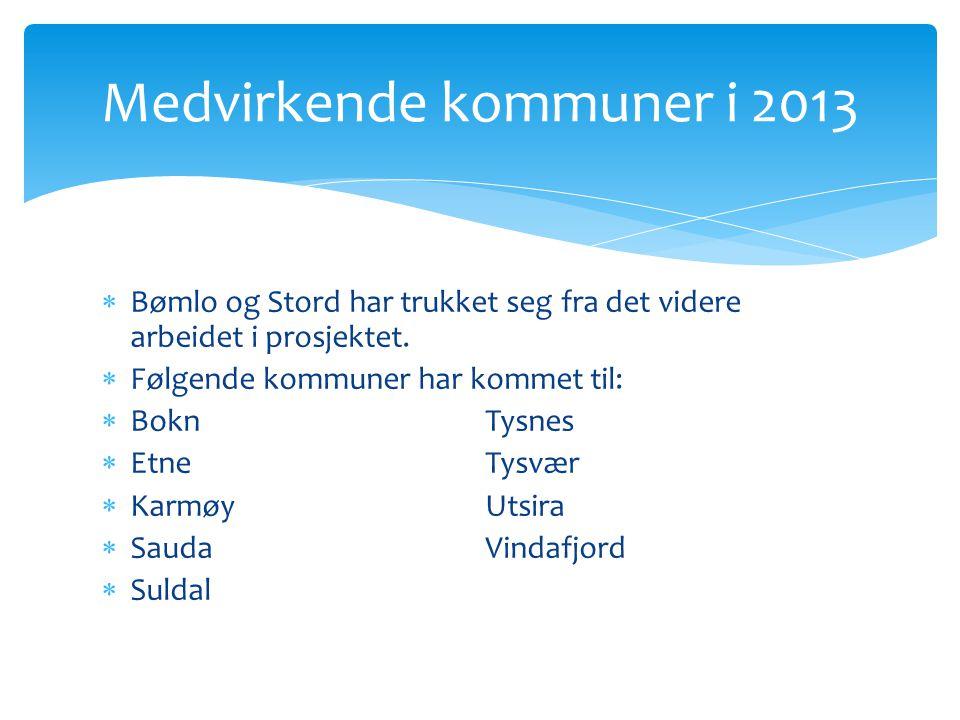  Bømlo og Stord har trukket seg fra det videre arbeidet i prosjektet.  Følgende kommuner har kommet til:  BoknTysnes  EtneTysvær  KarmøyUtsira 