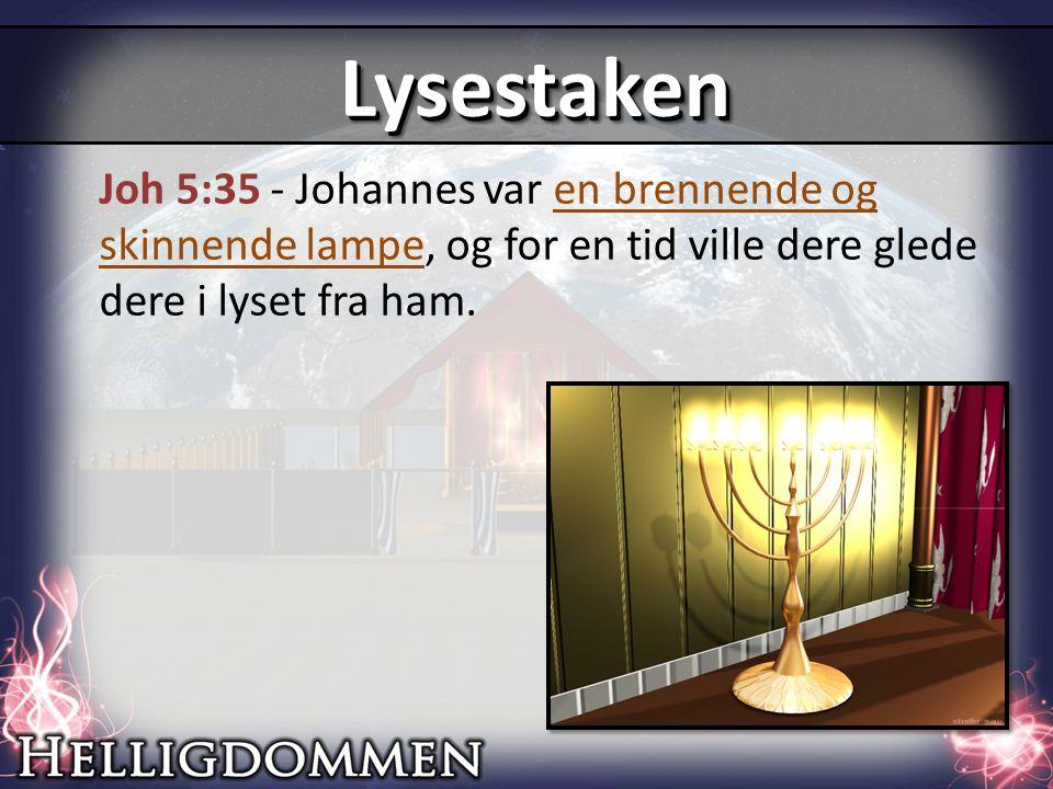 Joh 5:35 - Johannes var en brennende og skinnende lampe, og for en tid ville dere glede dere i lyset fra ham.