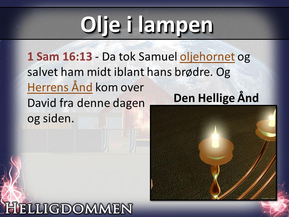 1 Sam 16:13 - Da tok Samuel oljehornet og salvet ham midt iblant hans brødre.