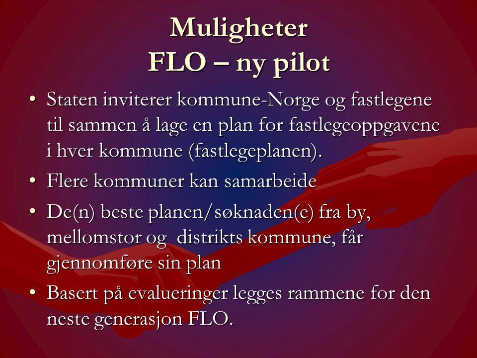 Muligheter FLO – ny pilot •Staten inviterer kommune-Norge og fastlegene til sammen å lage en plan for fastlegeoppgavene i hver kommune (fastlegeplanen).
