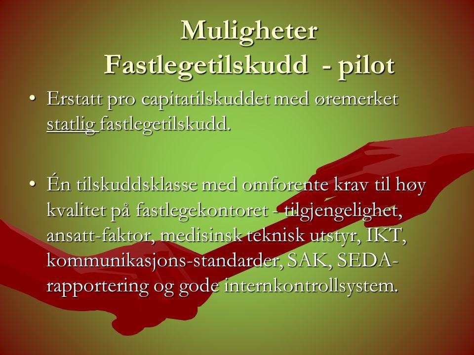 Muligheter Fastlegetilskudd - pilot •Erstatt pro capitatilskuddet med øremerket statlig fastlegetilskudd.