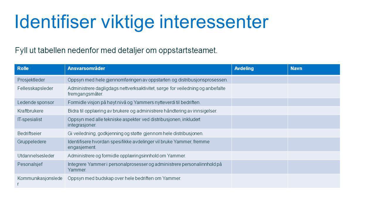 Identifiser viktige interessenter Fyll ut tabellen nedenfor med detaljer om oppstartsteamet. RolleAnsvarsområderAvdelingNavn ProsjektlederOppsyn med h