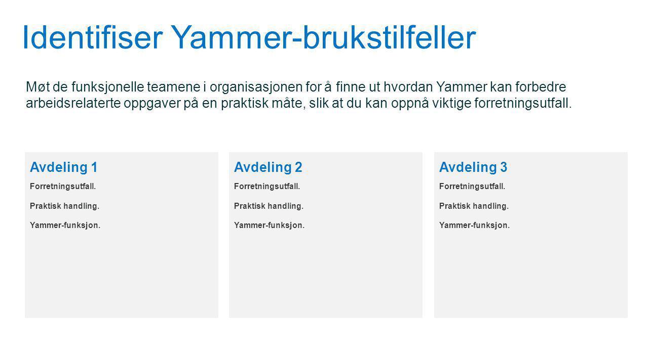 Identifiser Yammer-brukstilfeller Møt de funksjonelle teamene i organisasjonen for å finne ut hvordan Yammer kan forbedre arbeidsrelaterte oppgaver på en praktisk måte, slik at du kan oppnå viktige forretningsutfall.