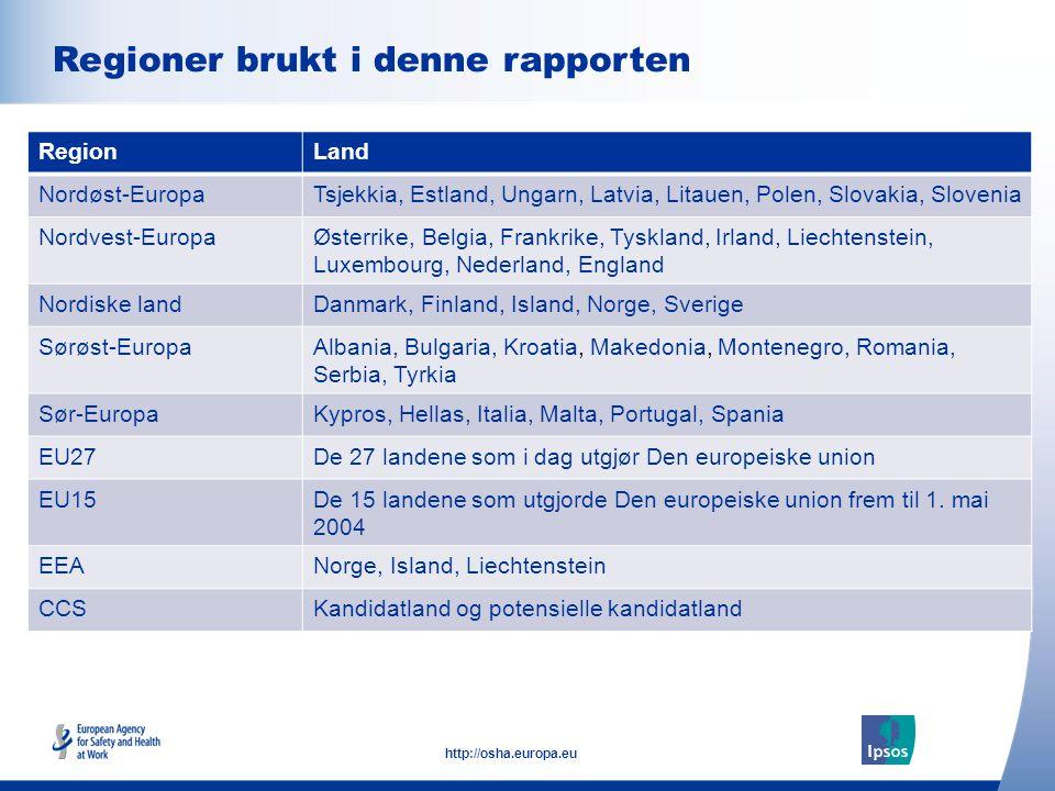 5 http://osha.europa.eu Click to add text here Regioner brukt i denne rapporten Note: insert graphs, tables, images here RegionLand Nordøst-EuropaTsje
