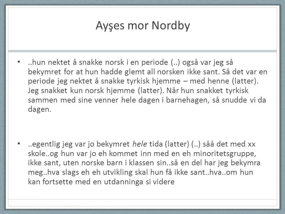 Ayşes mor Nordby •..hun nektet å snakke norsk i en periode (..) også var jeg så bekymret for at hun hadde glemt all norsken ikke sant.