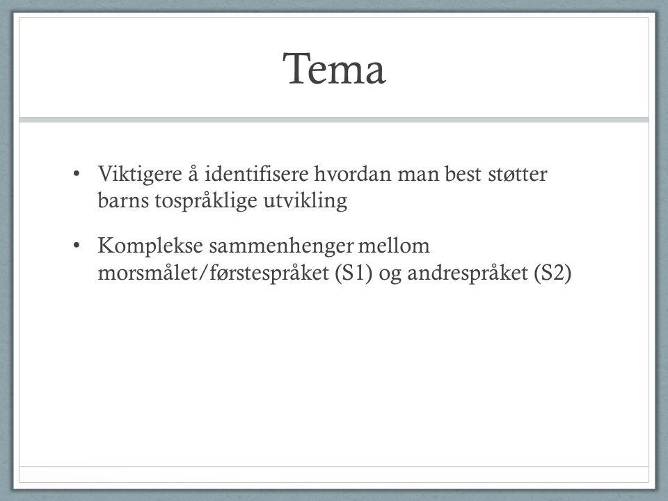 Tema • Viktigere å identifisere hvordan man best støtter barns tospråklige utvikling • Komplekse sammenhenger mellom morsmålet/førstespråket (S1) og andrespråket (S2)