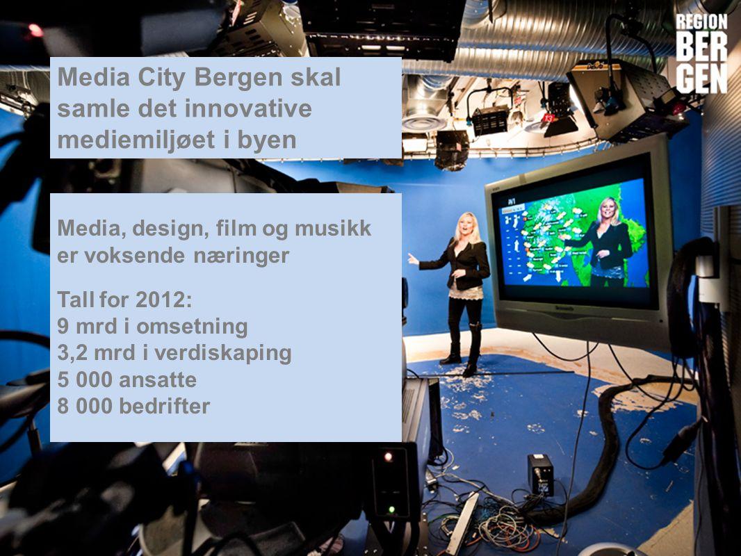 Insert company logo here Media City Bergen skal samle det innovative mediemiljøet i byen Media, design, film og musikk er voksende næringer Tall for 2012: 9 mrd i omsetning 3,2 mrd i verdiskaping 5 000 ansatte 8 000 bedrifter