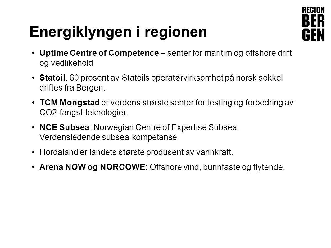 Insert company logo here Energiklyngen i regionen •Uptime Centre of Competence – senter for maritim og offshore drift og vedlikehold •Statoil.