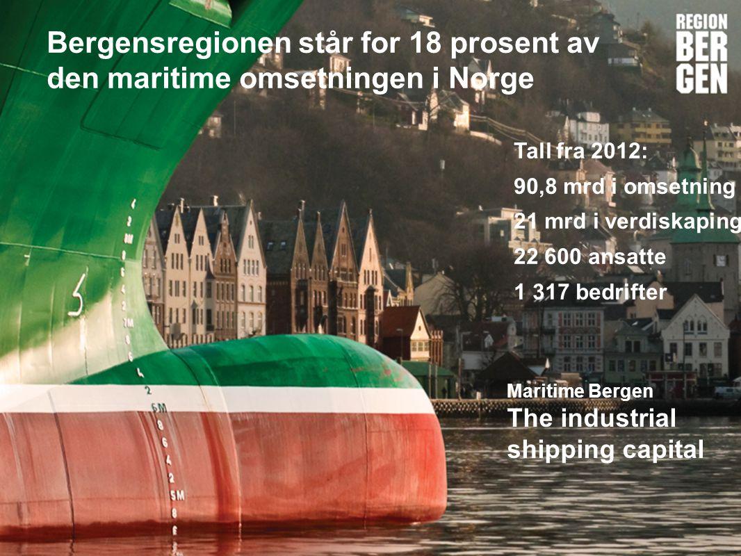 Insert company logo here Bergensregionen står for 18 prosent av den maritime omsetningen i Norge Tall fra 2012: 90,8 mrd i omsetning 21 mrd i verdiskaping 22 600 ansatte 1 317 bedrifter Maritime Bergen The industrial shipping capital
