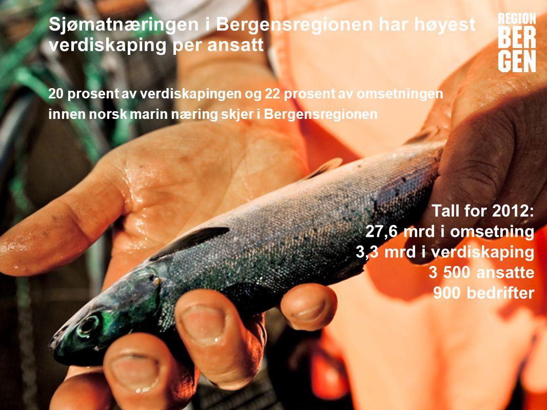 Insert company logo here Sjømatnæringen i Bergensregionen har høyest verdiskaping per ansatt 20 prosent av verdiskapingen og 22 prosent av omsetningen innen norsk marin næring skjer i Bergensregionen Tall for 2012: 27,6 mrd i omsetning 3,3 mrd i verdiskaping 3 500 ansatte 900 bedrifter