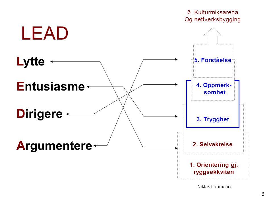 3 1. Orientering gj. ryggsekkviten 2. Selvaktelse 3. Trygghet 4. Oppmerk- somhet 5. Forståelse 6. Kulturmiksarena Og nettverksbygging Niklas Luhmann L