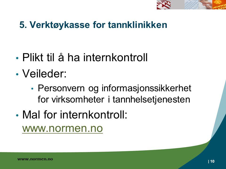 www.normen.no | 10 5. Verktøykasse for tannklinikken • Plikt til å ha internkontroll • Veileder: • Personvern og informasjonssikkerhet for virksomhete