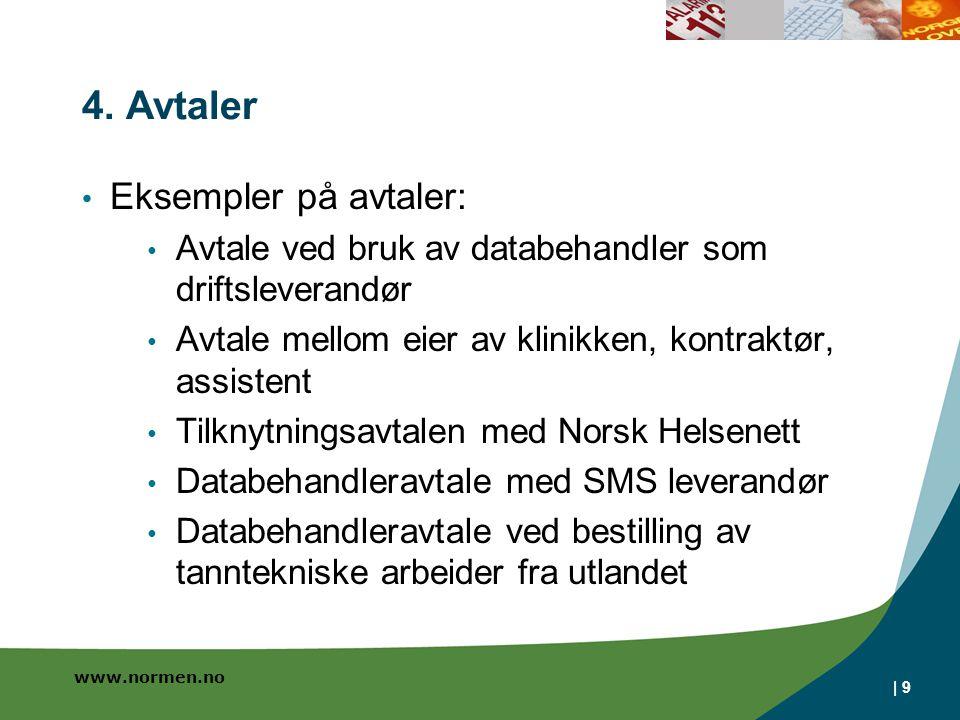 www.normen.no | 9 4. Avtaler • Eksempler på avtaler: • Avtale ved bruk av databehandler som driftsleverandør • Avtale mellom eier av klinikken, kontra