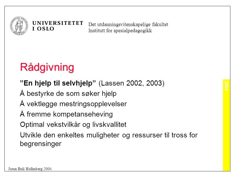 2004 Det utdanningsvitenskapelige fakultet Institutt for spesialpedagogikk Jorun Buli Hollmberg 2004 Rådgivning Tosidig Prosess (Lassen 2003) Individets/ individenes utvikling er målet Utvikling av systemene som innehar midlene for å realisere målet blir metoden.