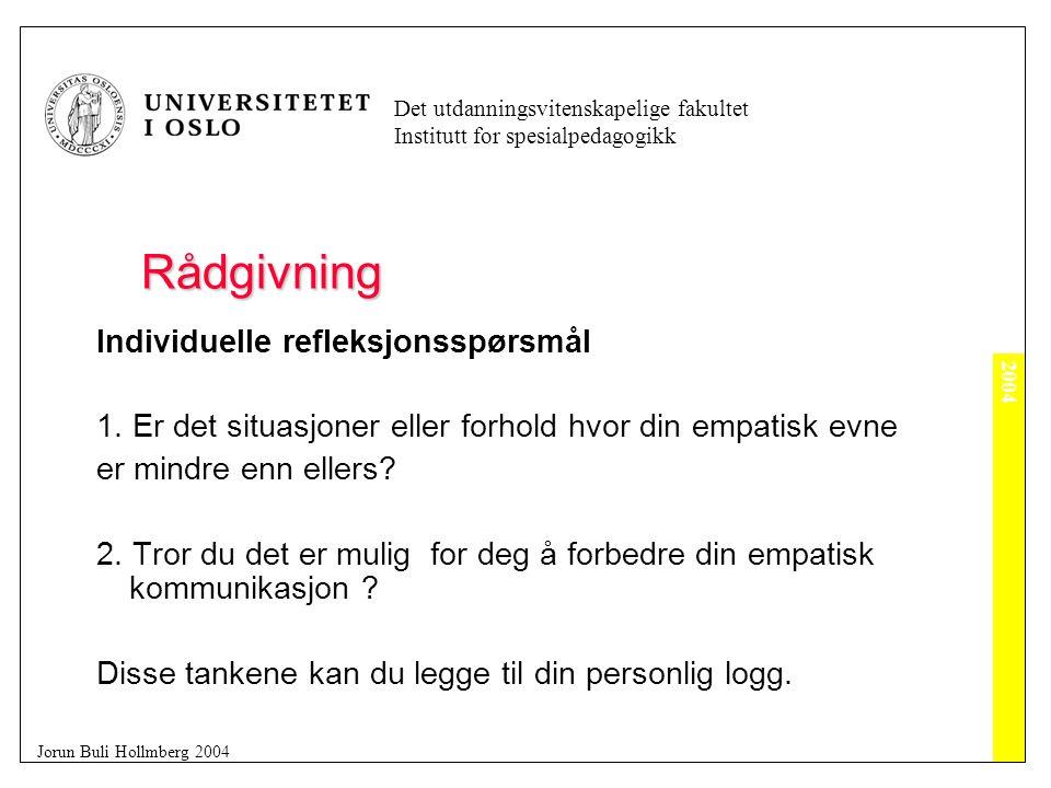 2004 Det utdanningsvitenskapelige fakultet Institutt for spesialpedagogikk Jorun Buli Hollmberg 2004 Rådgivning Individuelle refleksjonsspørsmål 1.