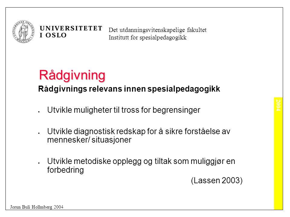 2004 Det utdanningsvitenskapelige fakultet Institutt for spesialpedagogikk Jorun Buli Hollmberg 2004 Rådgivning Kongruens  Å være seg selv på en integrert, fullstendig, genuin måte. gjennomsiktig  Plattform for trygghet, forutsigbarhet som gjør det mulig for råsøker å slappe av